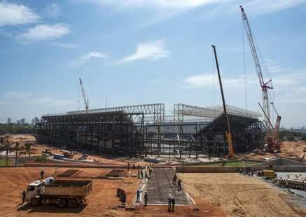 An overview of the Arena Pantanal stadium during a visit by FIFA Secretary General Jerome Valcke in Cuiaba October 8, 2013. REUTERS/Jose Med