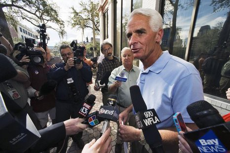 Former Florida Republican Governor Charlie Crist, who campaigned for U.S. President Barack Obama in the 2012 presidential election, speaks t