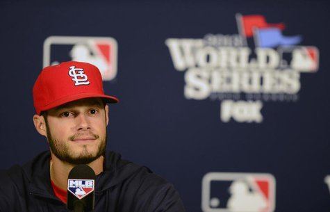 St. Louis Cardinals starting pitcher Joe Kelly (58) talks with the media during a press conference a day before game three of the World Seri