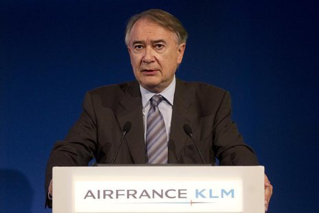 Philippe Calavia, Chief Financial Officer Air France-KLM, speaks during the presentation of the company's 2010-2011 full year results in Par