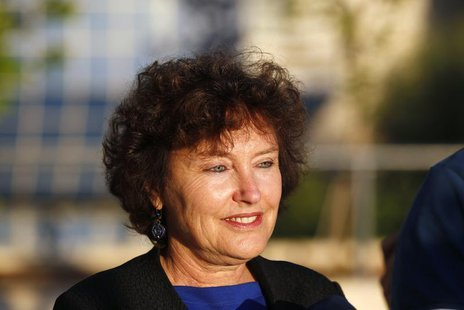 Newly appointed Bank of Israel Governor Karnit Flug gives a statement to the media outside the Bank of Israel building in Jerusalem October