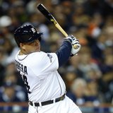 Detroit Tigers third baseman Miguel Cabrera (24) hits an RBI single against the Boston Red Sox during the fourth inning in game four of the