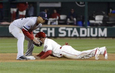 Oct 26, 2013; St. Louis, MO, USA; St. Louis Cardinals second baseman Kolten Wong (right) steals second base ahead of the throw to Boston Red