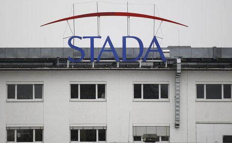 The logo of the pharmaceutical company Stada Arzneimittel AG is pictured at its headquarters in Bad Vilbel near Frankfurt March 14, 2012. RE