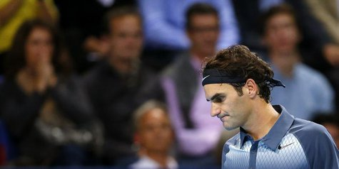 Switzerland's Roger Federer reacts during his final match against Juan Martin Del Potro of Argentina at the Swiss Indoors ATP tennis tournam