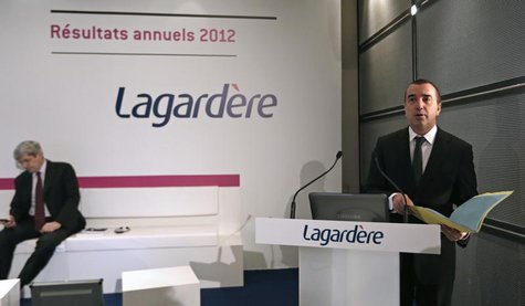 Arnaud Lagardere, the head of French media group Lagardere, presents the company's 2012 annual results in Levallois, near Paris, March 7, 20