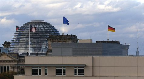 The U.S. embassy is pictured next to the Reichstag building, seat of the German lower house of parliament Bundestag, in Berlin October 28, 2