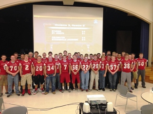 Coldwater varsity football team at playoff announcement rally, October 27, 2013