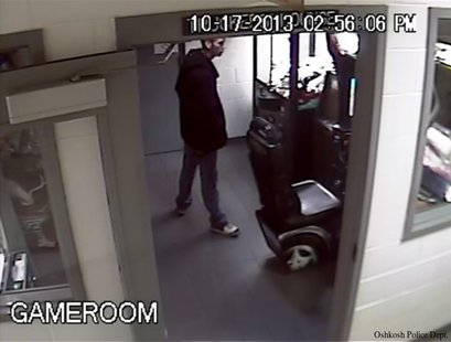 In this image taken from surveillance video, the suspect in an Oct. 17, 2013 theft of cash from a change machine at Planeview Truck Stop in Oshkosh is seen. (Photo by: Oshkosh Police Department).