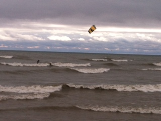Kite boarder off of south pier