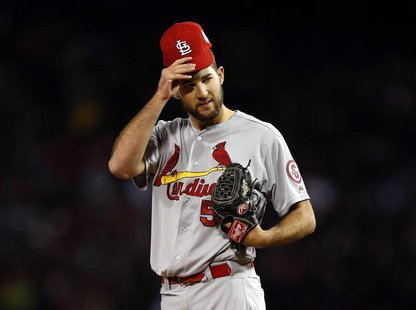 Oct 24, 2013; Boston, MA, USA; St. Louis Cardinals starting pitcher Michael Wacha (52) reacts during the fourth inning of game two of the ML