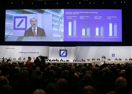 Juergen Fitschen, Co-CEO of Deutsche Bank AG speaks during a shareholders meeting in Frankfurt May 23, 2013. REUTERS/Ralph Orlowski