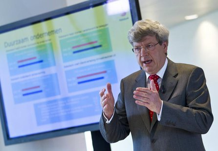 RABO bank CEO Piet Moerland speaks during the presentation of the annual results of 2011 at the bank's headquarters in Utrecht March 1, 2012