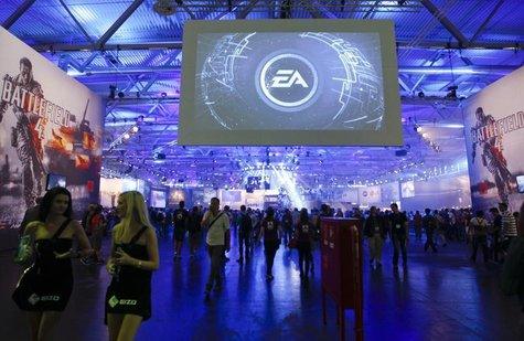 An overview shows the Electronic Arts EA exhibition stand during the Gamescom 2013 fair in Cologne August 21, 2013. REUTERS/Ina Fassbender