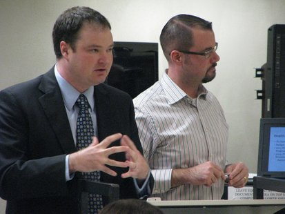 Comptroller-Treasurer Corey Laddick (left) and Mayor Andrew Halverson (right) answering questions during the Stevens Point 2014 budget presentation