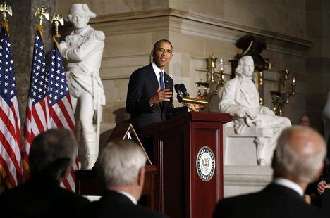 U.S. President Barack Obama delivers his tribute during a memorial service for former Speaker Tom Foley in the Capitol in Washington October