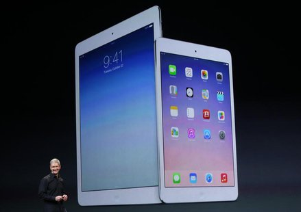 Apple Inc CEO Tim Cook speaks about the new iPad Air and the iPad mini with Retina display during an Apple event in San Francisco, Californi