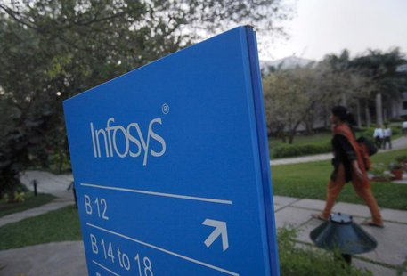 An employees walks past a signage board in the Infosys campus at the Electronics City IT district in Bangalore, February 28, 2012. REUTERS/V
