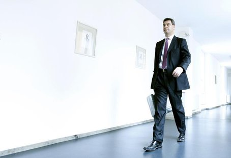 Bavarian Finance Minister Markus Soeder (CSU) arrives in the Bavarian state parliament in Munich July 17, 2012. REUTERS/Michaela Rehle