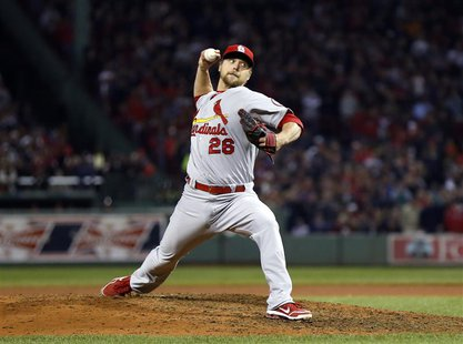 Oct 30, 2013; Boston, MA, USA; St. Louis Cardinals relief pitcher Trevor Rosenthal (26) throws against the Boston Red Sox during the eighth