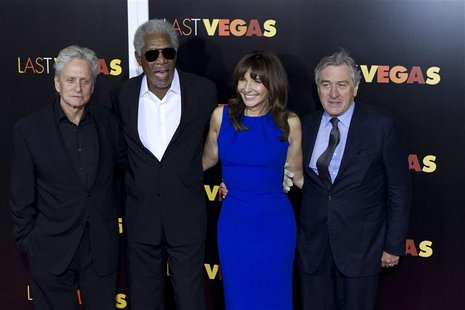 "Cast members of ""Last Vegas"" (L-R) Michael Douglas, Morgan Freeman, Mary Steenburgen, and Robert De Niro, attend the premiere of the movie i"