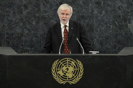 Finland's Foreign Minister Erkki Tuomioja addresses the 68th United Nations General Assembly at U.N. headquarters in New York, September 27,