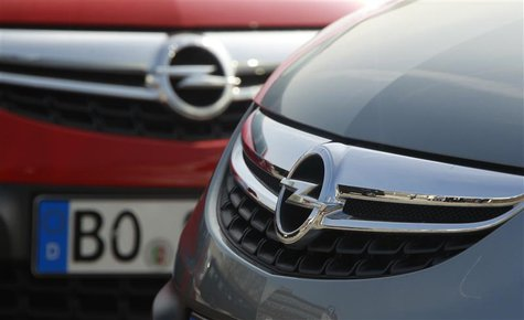 Opel cars are pictured at the Opel plant of Bochum in this March 28, 2012 file photo. REUTERS/Ina Fassbender/Files