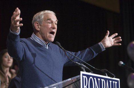 U.S. Republican presidential candidate Representative Ron Paul (R-TX) speaks during a rally at the Green Valley Ranch Station Casino in Hend
