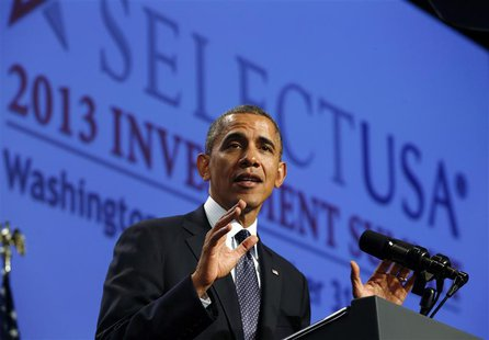 U.S. President Barack Obama speaks at the SelectUSA 2013 Investment Summit in Washington October 31, 2013. REUTERS/Kevin Lamarque