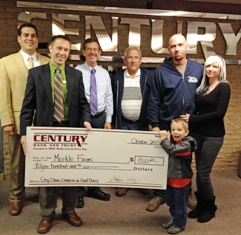 Century Bank and Trust purchases crop shares from Merkle Farms for Branch Area Food Pantry