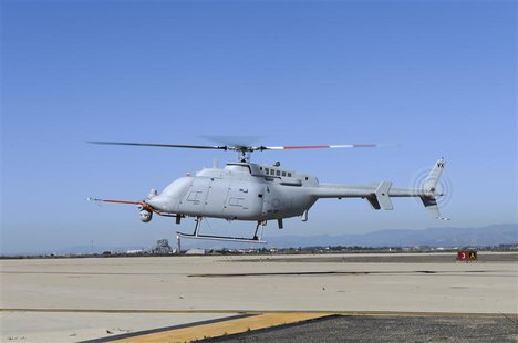 The U.S. Navy's newest variant of the Fire Scout unmanned helicopter completes its first day of flying in this handout photo taken at Naval