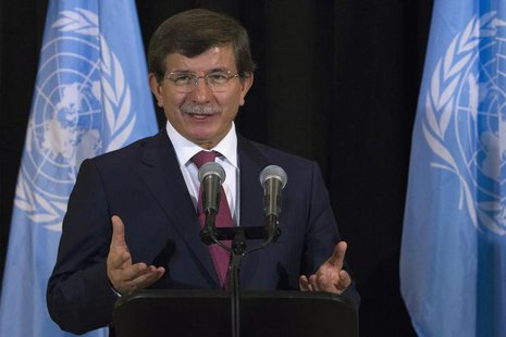 Turkey's Foreign Minister Ahmet Davutoglu speaks during a news conference on the sidelines of the UN General Assembly at UN Headquarters in