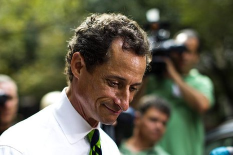 New York City Democratic mayoral candidate Anthony Weiner leaves a polling center after casting his vote during the primary election in New