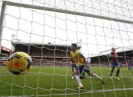 Olivier Giroud of Arsenal celebrates scoring against Crystal Palace during their English Premier League soccer match at Selhurst Park, Londo