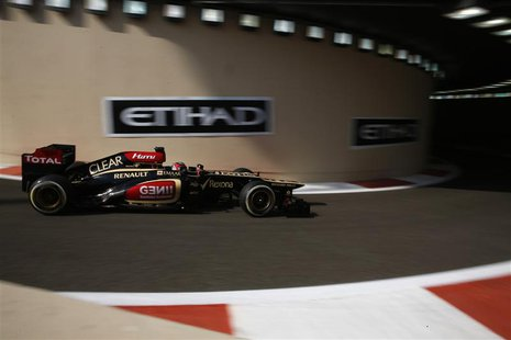 Lotus F1 Formula One driver Kimi Raikkonen of Finland drives during the first practice session of the Abu Dhabi F1 Grand Prix at the Yas Mar