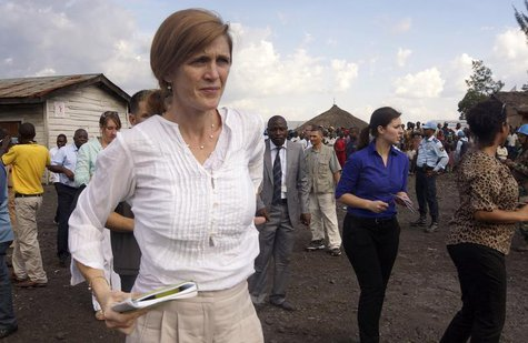 U.S. Ambassador to the United Nations (U.N.) Samantha Power visits the Mugunga III camp for internally displaced people in Goma, eastern Dem