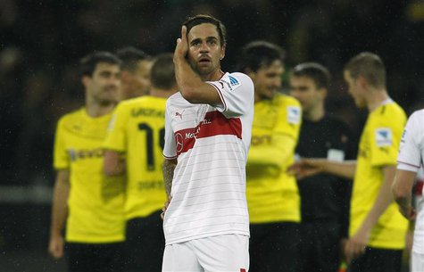 Stuttgart's Martin Harnik reacts after the German first division Bundesliga soccer match against Borussia Dortmund in Dortmund November 1, 2