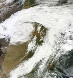 Satellite image of the Atlas Blizzard that devastated Western South Dakota in early October.  (Wikimedia.org)