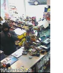 A picture of the suspect in the Clark Station robbery in Sheboygan November 1, 2013.