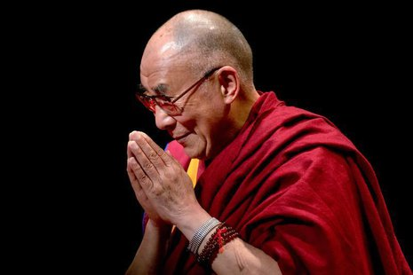 "Exiled Tibetan spiritual leader The Dalai Lama greets the audience after speaking on ""The Virtue of Non-Violence"" at The Beacon Theatre in N"