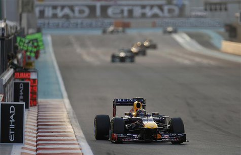 Red Bull Formula One driver Sebastian Vettel of Germany drives during the Abu Dhabi F1 Grand Prix at the Yas Marina circuit on Yas Island, N