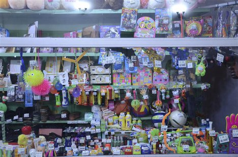 Toys and other small items are tagged with their prices based on grey market rates in a shop in downtown Pyongyang in this recent, undated h
