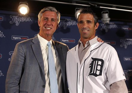 Detroit Tigers General Manager Dave Dombrowski (L ) and newly named Tigers manager Brad Ausmus pose together during a press conference where