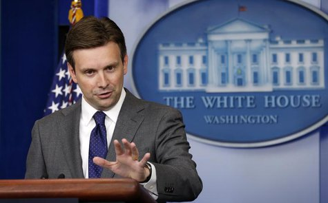 White House Principal Deputy Press Secretary Josh Earnest speaks about Syria during a press briefing at the White House in Washington August