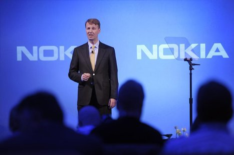 Finnish mobile phone manufacturer Nokia's Chairman of the Board Risto Siilasmaa speaks during the company's news conference in Espoo, Septem
