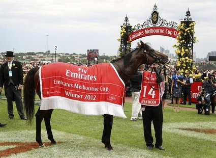 Green Moon is led around the yard after winning the Melbourne Cup at the Flemington race course in Melbourne November 6, 2012. REUTERS/Brand