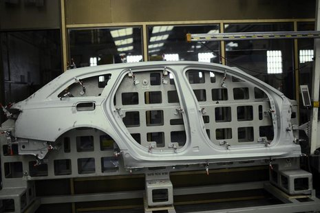 A pressed steel car part is seen at the factory of Troqueleria Del Norte, die-manufacturers for the automotive sector, in Sondika, 12 km (7