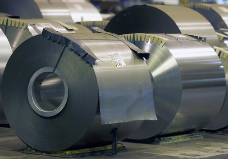 Coils of steel are seen at the ArcelorMittal Factory in Florange, Eastern France, October 18, 2013. REUTERS/Vincent Kessler