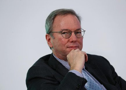 "Google Executive Chairman Eric Schmidt looks on during a talk titled ""Connecting with the World: Empowering Young Entrepreneurs for the New"