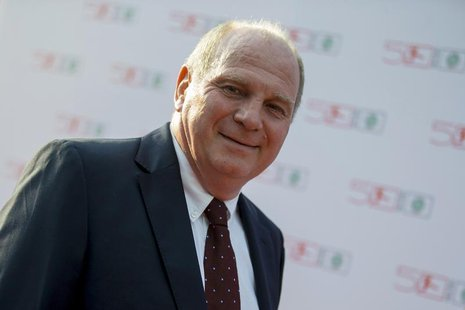 Bayern Munich soccer club president Uli Hoeness arrives at a gala marking the 50th anniversary of the foundation of the German Bundesliga so